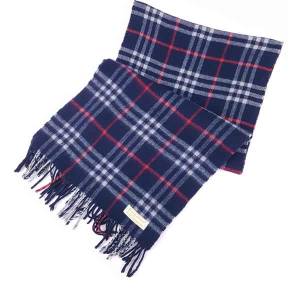 Vtg BURBERRY'S Navy Classic Check Cashmere Scarf